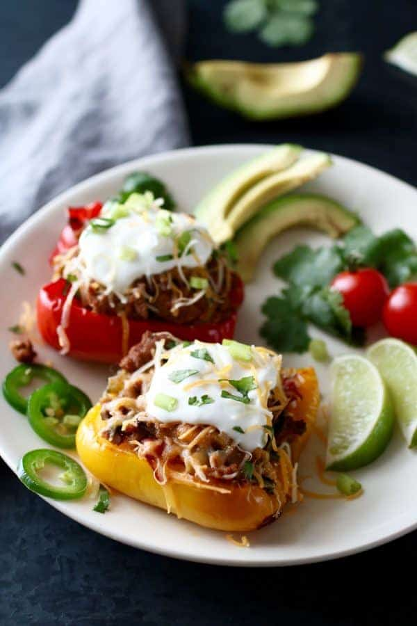 Southwest Turkey Stuffed Peppers on a white plate