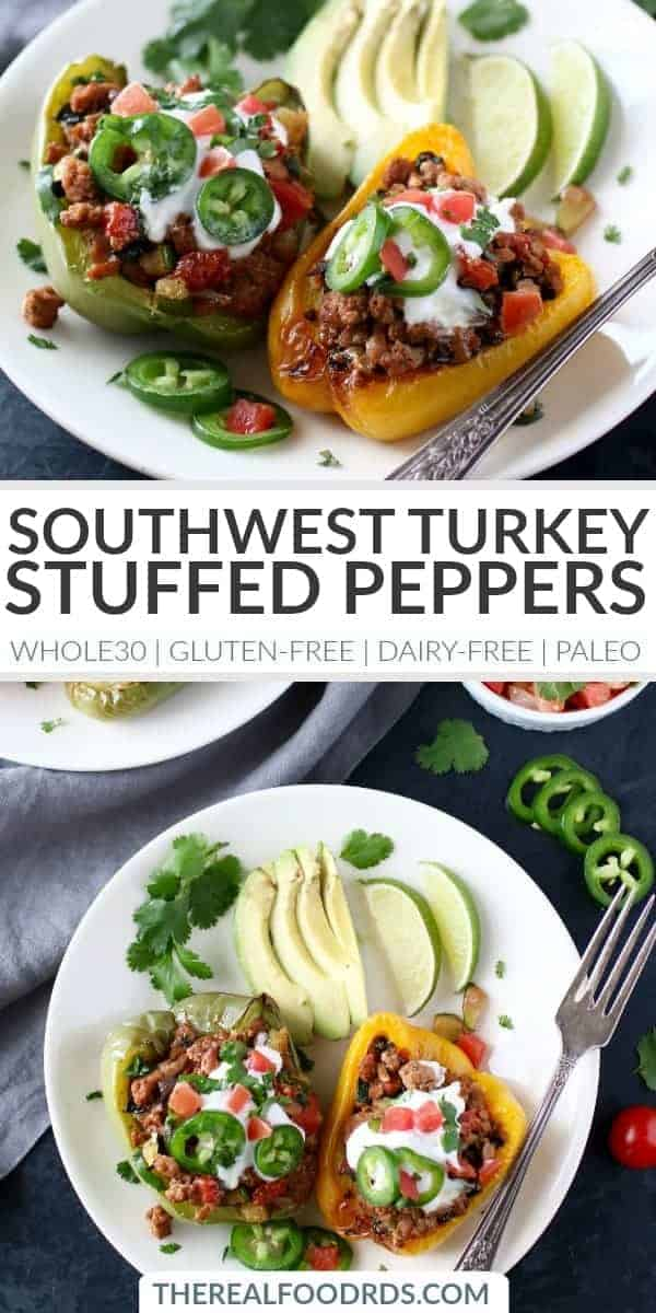 pinterest image for Southwest Turkey Stuffed Peppers