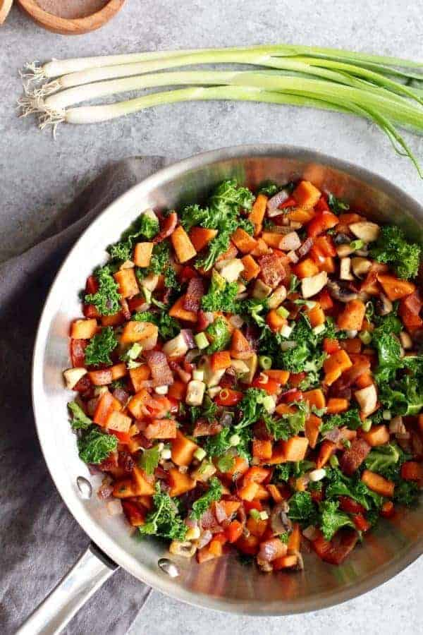 Sweet Potato Hash with Bacon | The Real Food Dietitians | https://therealfooddietitians.com/sweet-potato-hash-recipe/