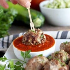 Zucchini Turkey Meatballs | healthy meatball recipes | homemade turkey meatballs | how to make turkey meatballs | recipes using fresh zucchini | whole30 approved recipes | whole30 meat recipes | paleo dinner recipes | gluten free dinner recipes | gluten free meatball recipe | paleo meatball recipe || The Real Food Dietitians