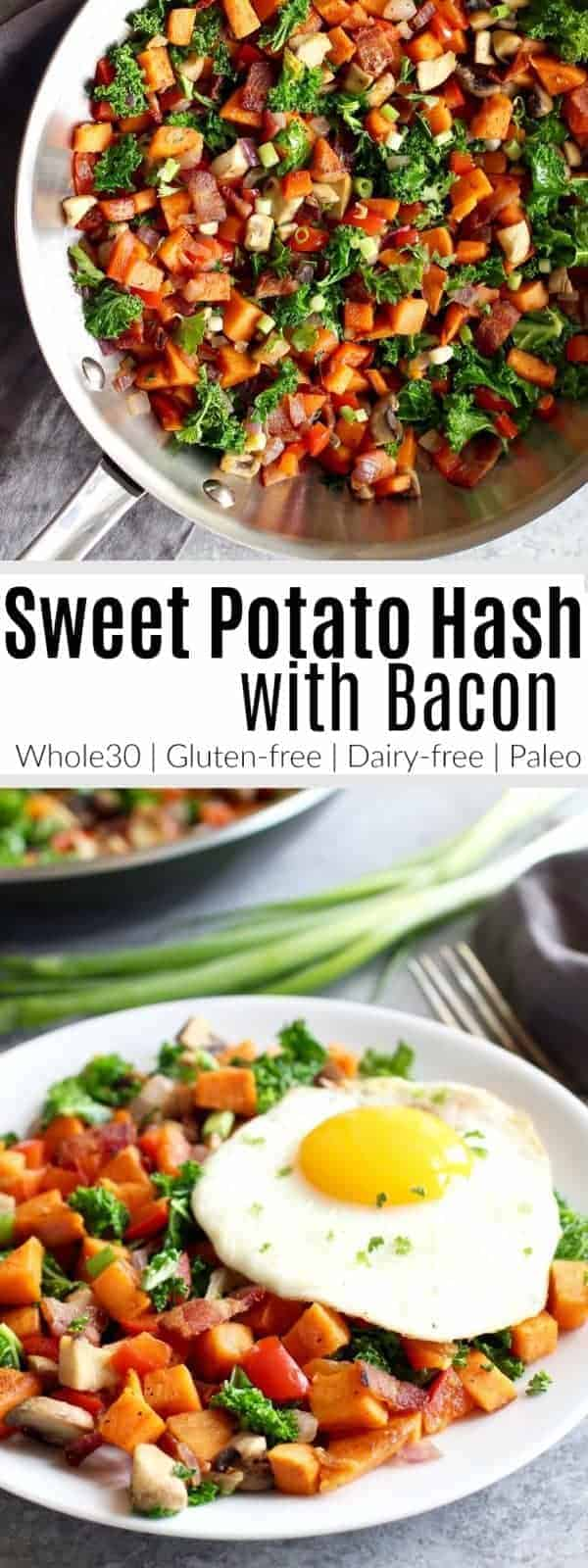 Sweet potatoes, mushrooms, kale, bacon...oh my! This Sweet Potato Hash with Bacon is flavorful, super simple and delicious. A Whole30-friendly recipe you can enjoy for breakfast, lunch or dinner. | The Real Food Dietitians | https://therealfooddietitians.com/sweet-potato-hash-recipe/