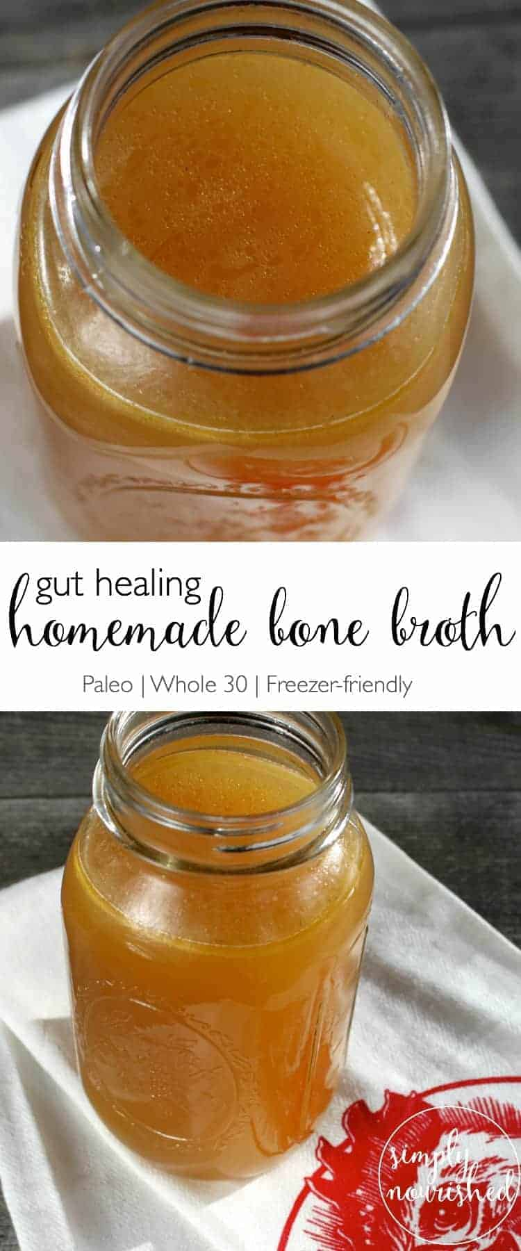 Pour yourself a cup of Nourishing and Gut Healing Homemade Bone Broth | Slow Cooker Recipe | Paleo recipes | Whole30 recipes | freezer-friendly recipes | how to make bone brother | gut-healing recipes || The Real Food Dietitians #bonebroth #whole30 #paleo #freezerfriendly