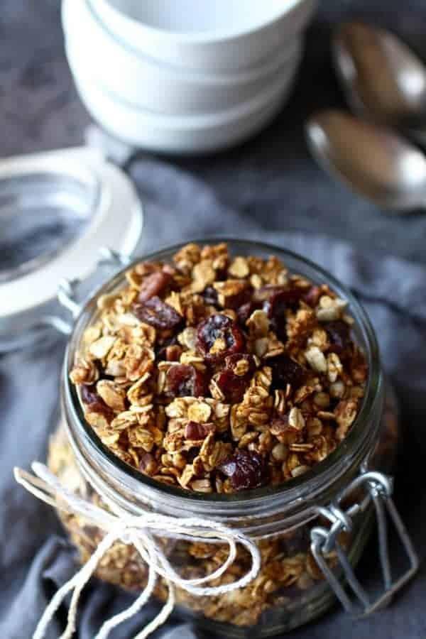 Pumpkin Spice Granola in a glass jar