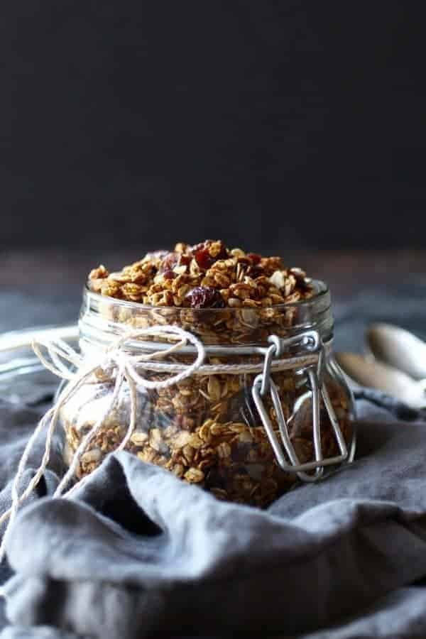 Pumpkin Spice Granola in a glass jar