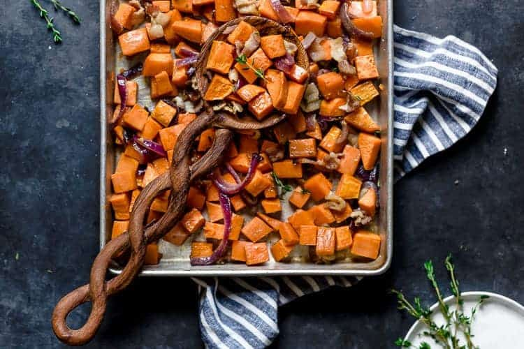 Roasted Sweet Potatoes With Maple And Bacon The Real Food Dietitians