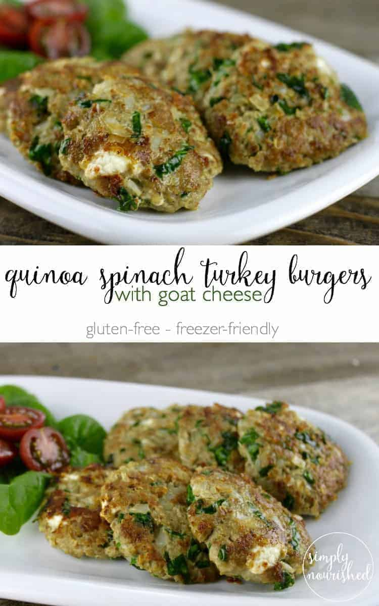 Quinoa Spinach Turkey Burgers | gluten-free dinner recipes | gluten-free burger recipes | homemade turkey burgers | freezer-friendly dinner recipes | healthy turkey recipes || The Real Food Dietitians