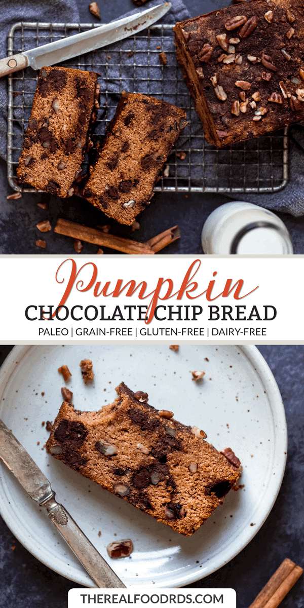 Longer Pin Image for Paleo Pumpkin Chocolate Chip Bread