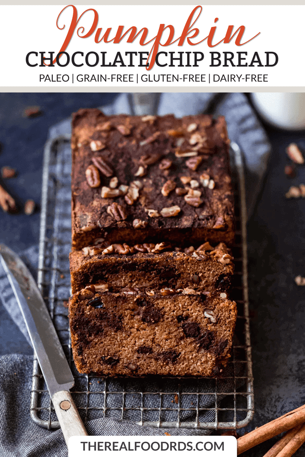 Shorter Pin Image for Paleo Pumpkin Chocolate Chip Bread