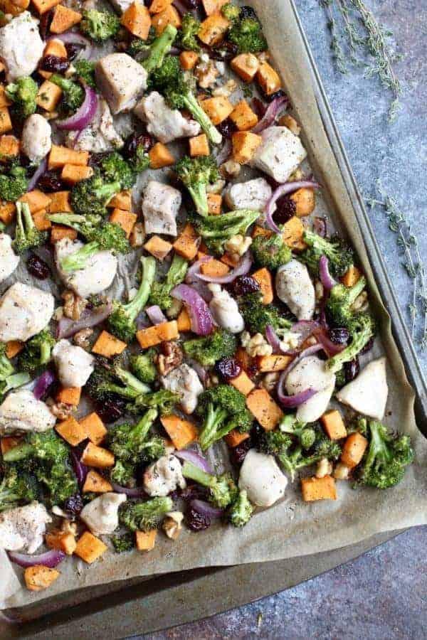 30 Whole30 Sheet Pan Recipes sweet potato broccoli chicken bake on sheet pan