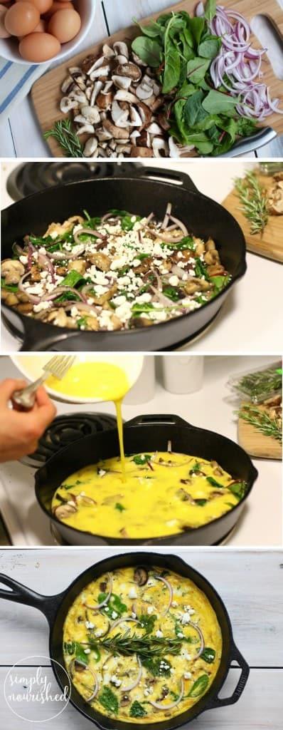 Cast Iron Mushroom Medley Frittata | one dish, one meal | http://simplynourishedrecipes.com/mushroom-medley-frittata/