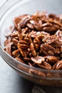 All ingredients for spiced pecans mixed together and ready for baking