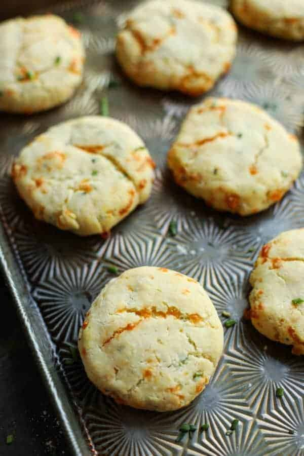 Garlic Cheddar Biscuits on a silver tray