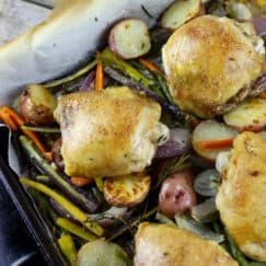 One-Pan Roasted Chicken and Vegetables | Grain-free, Gluten-free, Paleo, Whole 30-friendly | http://simplynourishedrecipes.com/one-pan-roasted-chicken-and-vegetables