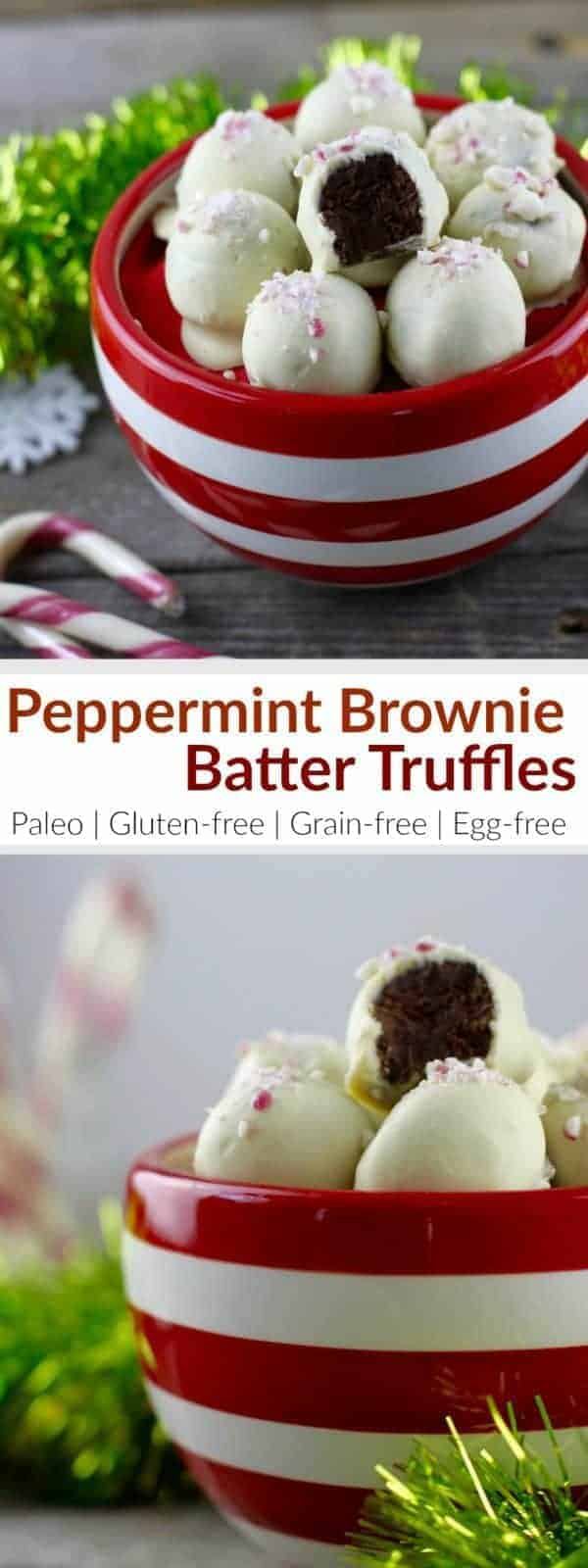 Peppermint Brownie Batter Truffles | Paleo holiday recipes | Gluten-free holiday recipes | Grain-free holiday recipes | Egg-free holiday recipes | healthy truffle recipes | peppermint flavored treats | paleo truffle recipe | gluten-free truffle recipe | egg-free truffle recipe || The Real Food Dietitians #paleodesserts #peppermintdesserts #trufflerecipe #holidaysweets