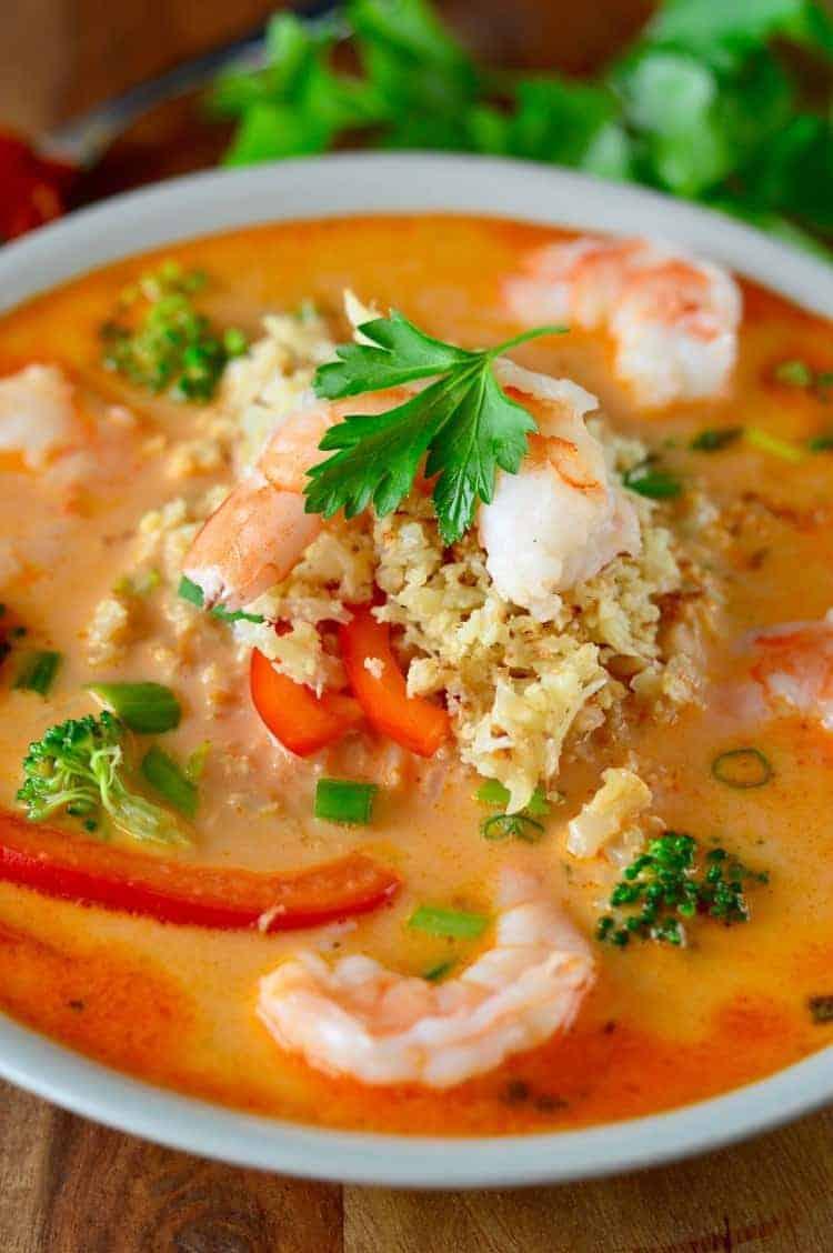 Coconut Red Curry Shrimp Soup | healthy soup recipes | healthy seafood recipes | paleo soup recipes | whole30 soup recipes | gluten-free soup recipes | dairy-free soup recipes || The Real Food Dietitians #whole30soup #glutenfreesoup #healthysoup