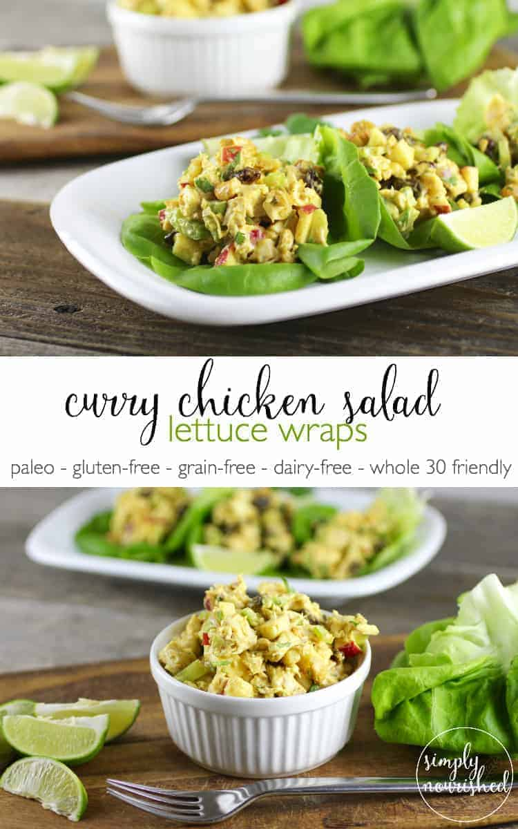 Curry Chicken Salad Lettuce Wraps | Gluten-free chicken salad | Grain-free chicken salad | Gluten-free chicken salad | Dairy-free chicken salad | Paleo chicken salad || The Real Food Dietitians #healthychickensalad #paleorecipes #glutenfreerecipes