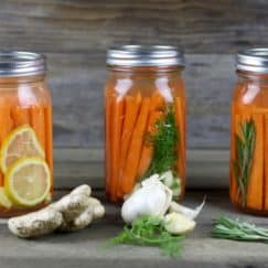 Fermented Carrots with Dill | Fermenting foods is an ancient method of preservation and also provides a host of nutritional benefits. Boost your immune system and gut health with this Simple recipe | http://simplynourishedrecipes.com/fermented-carrots-with-dill/