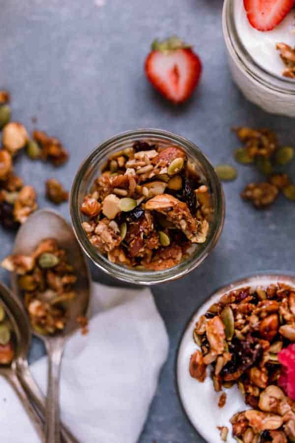 Overhead shot of Paleo Granola in a clear glass.