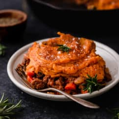 Shepherd's pie topped with sweet potatoes plated and ready to serve