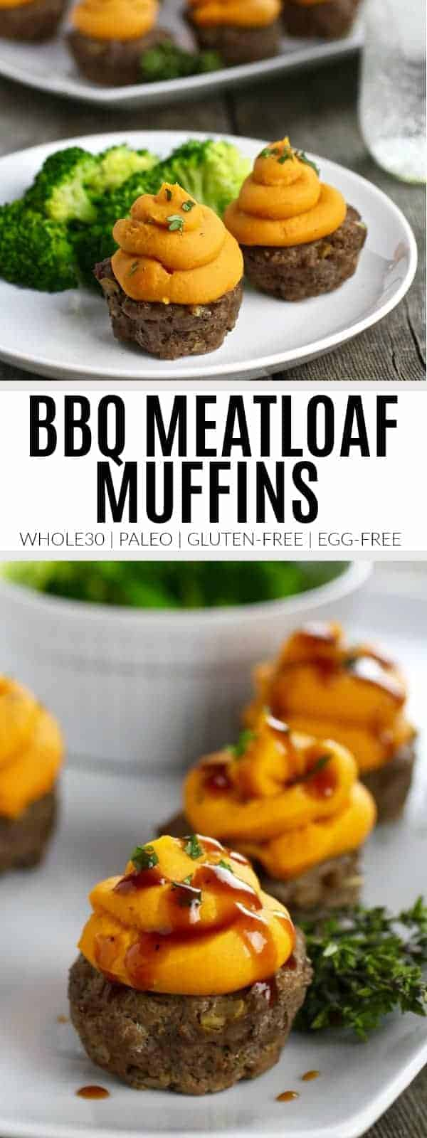 pinterest image for BBQ Meatloaf Muffins with Sweet Potato Topping