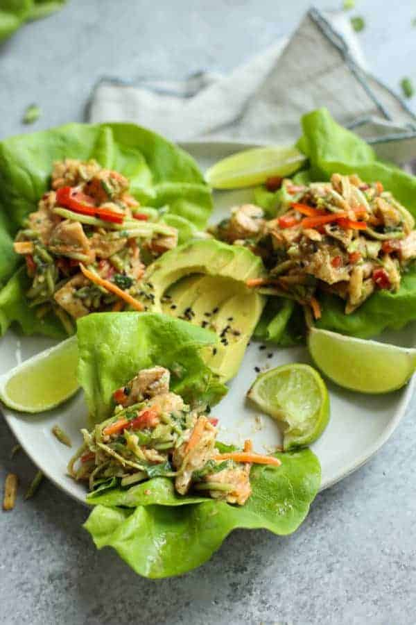 Asian Chicken Salad Lettuce Wraps on a white plate