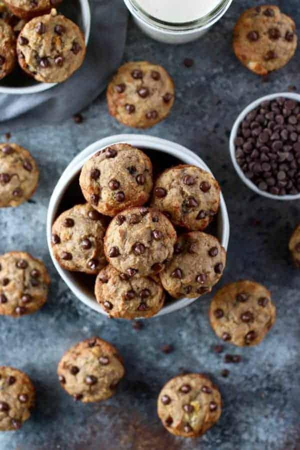 Grain-Free Banana Chocolate Chip Mini Muffins in a white bowl