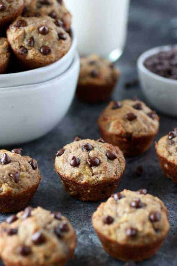 Grain-Free Banana Chocolate Chip Mini Muffins on a gray counter