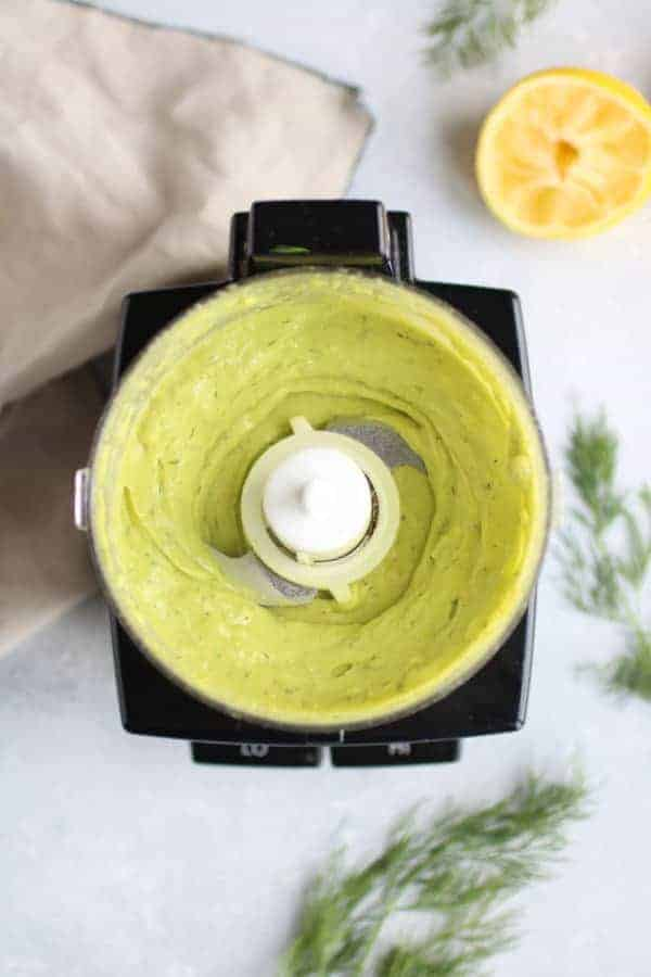 Avocado Garlic Sauce in a food processor for Salmon Burgers