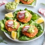 Salmon Burgers with Avocado Garlic Sauce