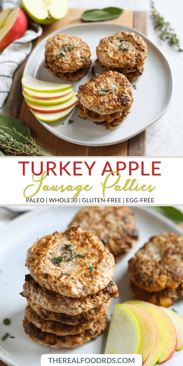 Pinterest image for Turkey Apple Sausage Patties
