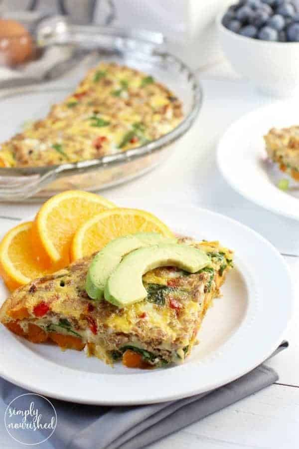 Sweet Potato Turkey Sausage Egg Bake | 30-minute meal idea | This Sweet Potato Turkey Sausage Egg Bake combines a blend of ingredients creating a perfect sweet and savory dish. A freezer-friendly recipe | Paleo breakfast recipe | Whole30 breakfast recipe | Gluten-free breakfast recipe | Dairy-free breakfast recipe || The Real Food Dietitians