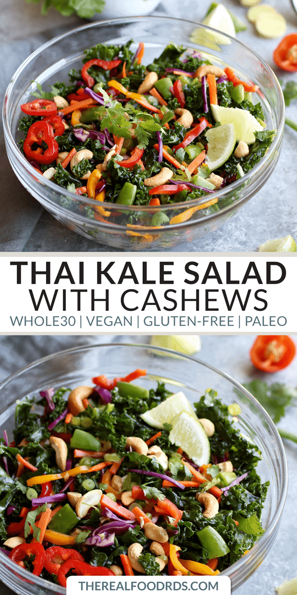 Pinterest image for Thai Kale Salad with Cashews
