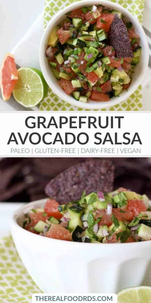 Pinterest image for Grapefruit Avocado Salsa