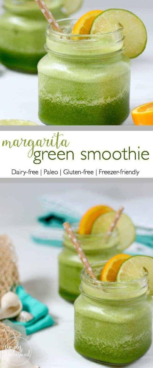 Margarita Green Smoothie | Just like the tropical poolside drink - only legal for breakfasts and mid-afternoon breaks at work. Adding a scoop of unflavored collagen peptides makes this more satisfying without changing the flavor.