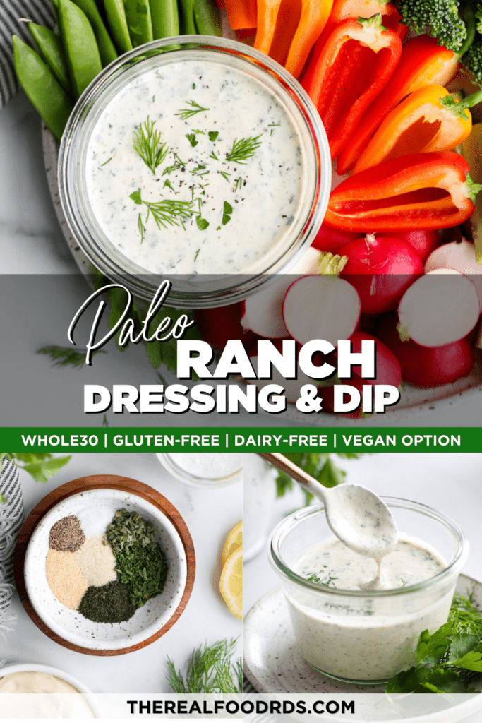A collage of paleo ranch dressing photos