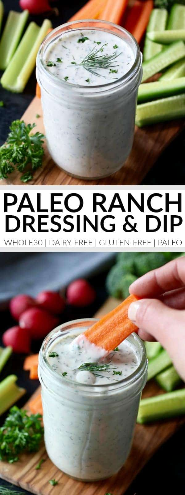 Pinterest image for Paleo Ranch Dressing & Dip