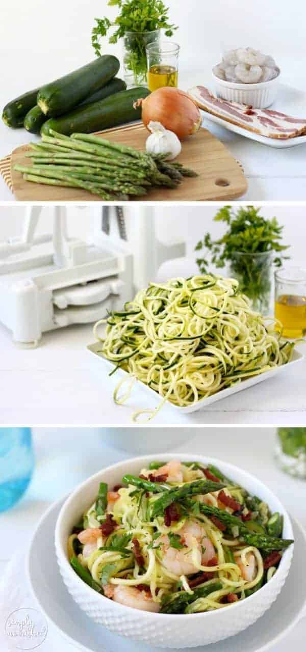 "three pictures with the ingredients for Zucchini ""Pasta"" Carbonara with Shrimp and the finished dish in a white bowl"