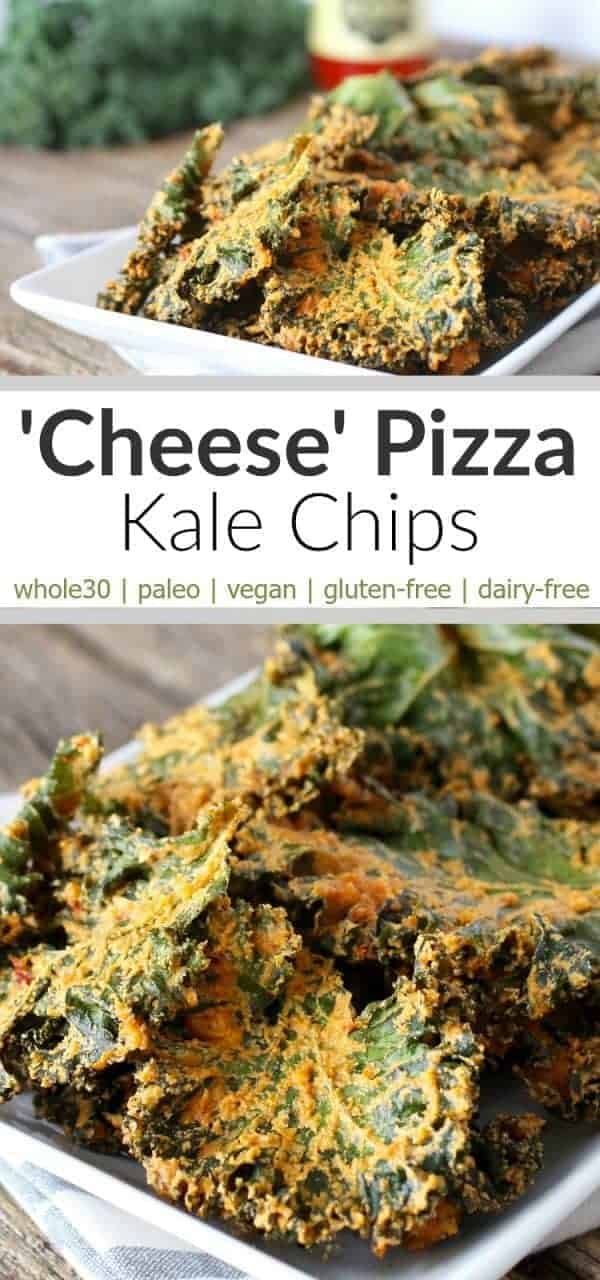 Cheese Pizza Kale Chips | Paleo, Vegan, Whole30-friendly Cheese Pizza Kale Chips are a must try cheesy recipe….but without the cheese! And you'll never know the cheese is missing because they're that good | www.therealfoodrds.com