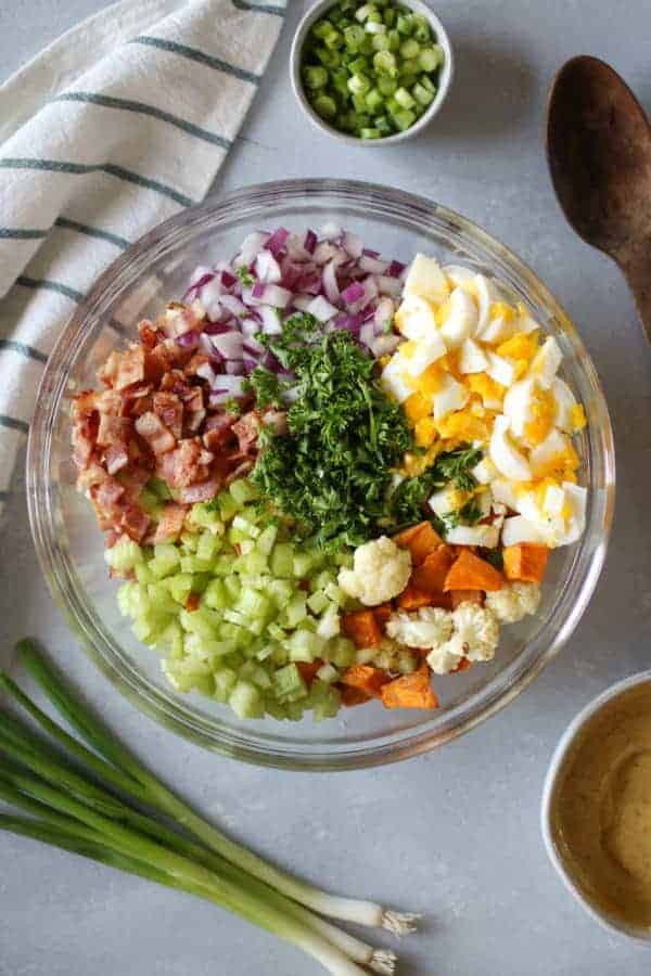 Roasted Cauliflower Sweet Potato Salad ingredients
