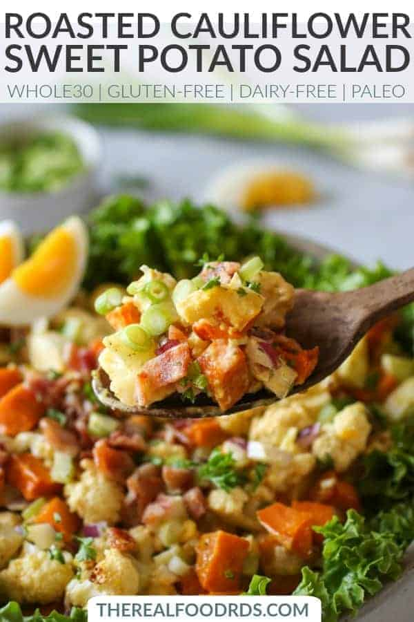 Pinterest image for Roasted Cauliflower Sweet Potato Salad