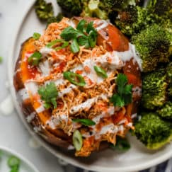 SLOW COOKER BUFFALO CHICKEN STUFFED SWEET POTATOES