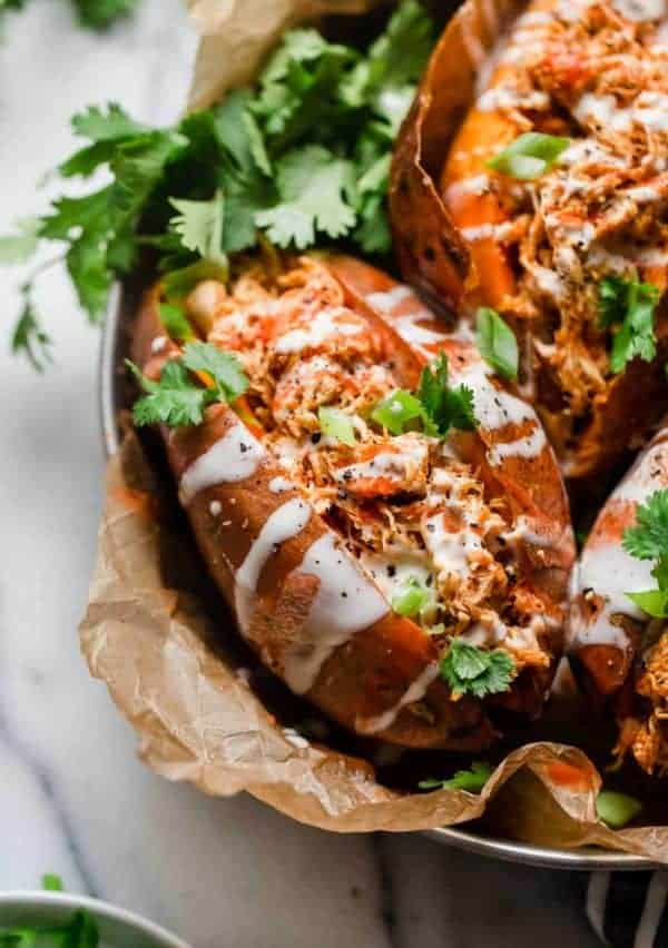 close up view of Slow Cooker Buffalo Chicken Sweet Potatoes