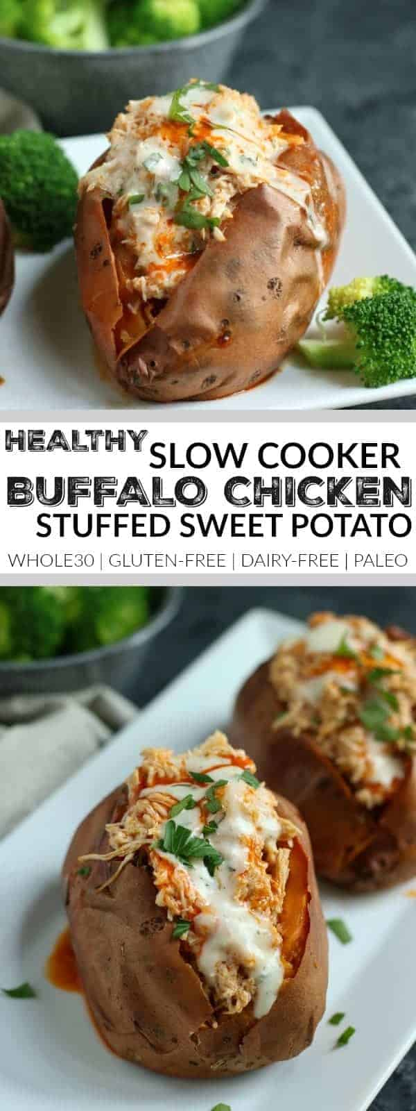 Pinterest image for Slow Cooker Buffalo Chicken Sweet Potatoes
