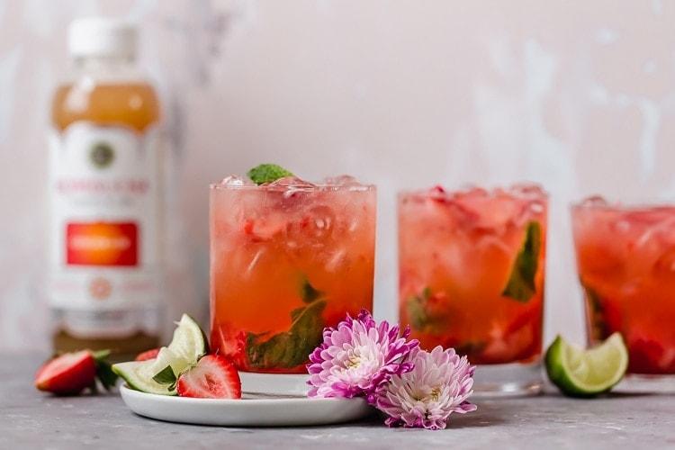 Low-Sugar Strawberry Mojito Kombucha Cocktail - The Real Food ...