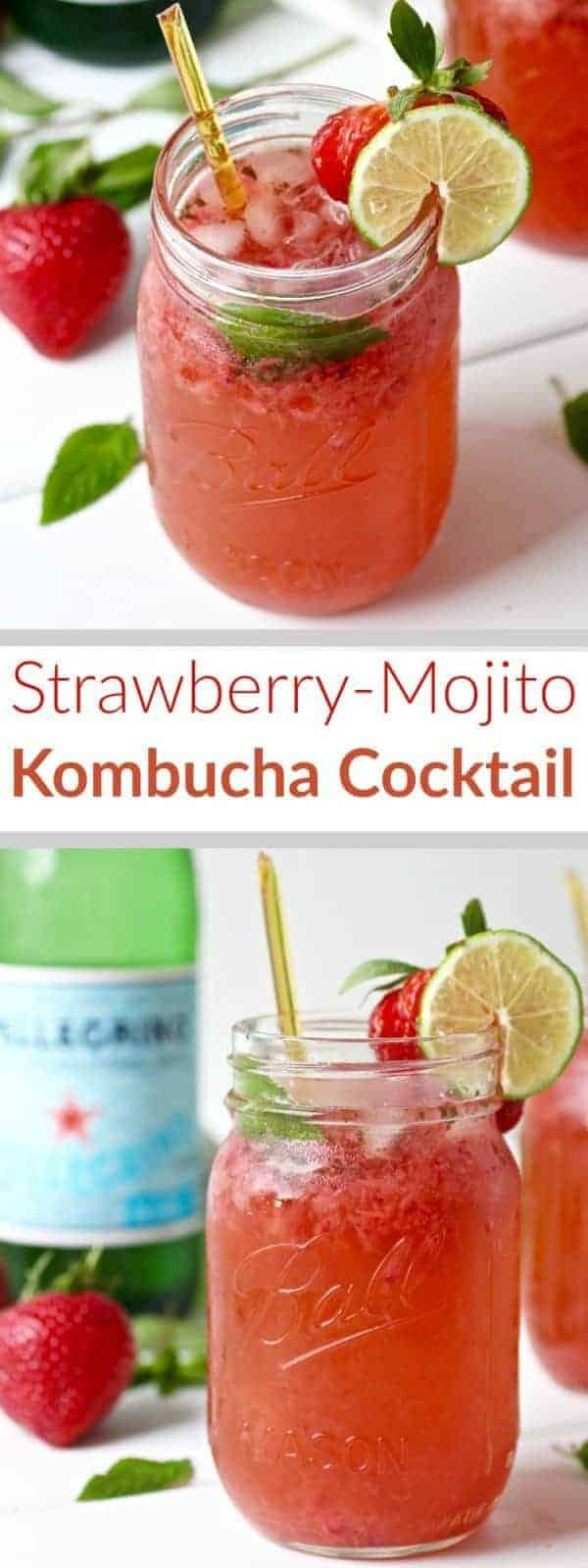 Your new favorite cocktail has arrived! This Strawberry Mojito Kombucha Cocktail is perfect for summertime. It's refreshing, fruity and has no-added sugars! | www.therealfoodrds.com