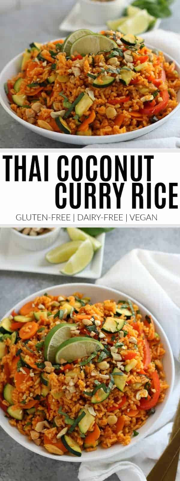 pinterest image for Thai coconut curry rice