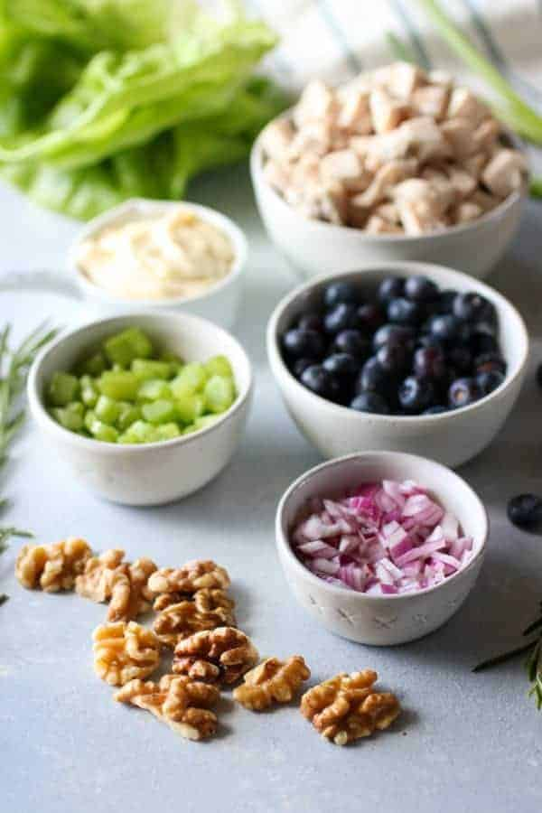 Ingredients for Blueberry Chicken Salad with Rosemary