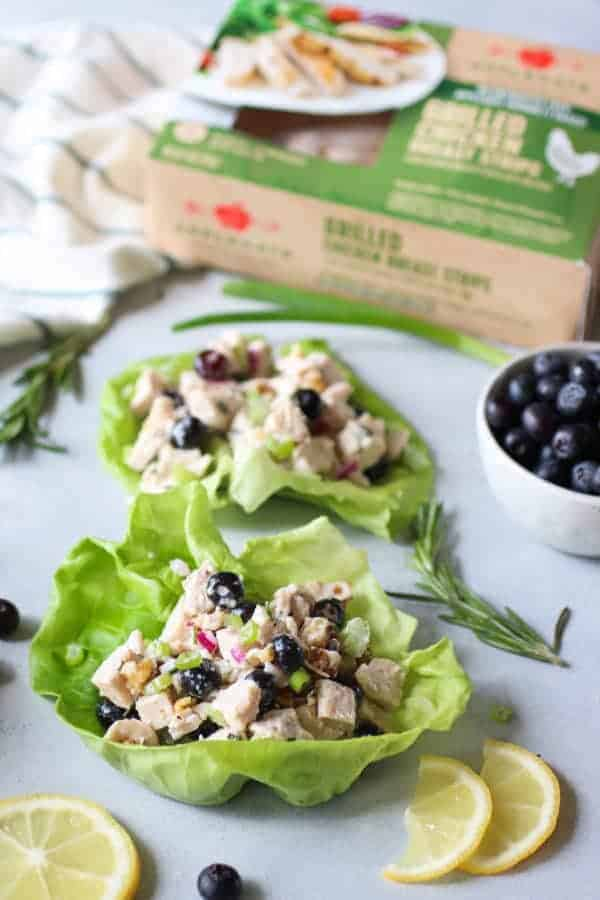 Blueberry Chicken Salad with Rosemary in lettuce wraps
