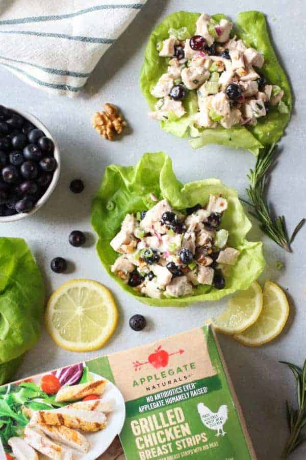 Blueberry Chicken Salad with Rosemary lettuce wraps with partial image of a box of Applegate Naturals Grilled Chicken