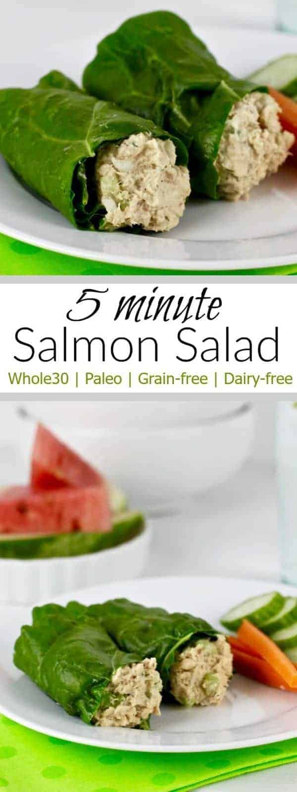 5 Minute Salmon Salad | healthy salmon recipes | recipes using salmon | Whole30 approved recipes | Whole30 lunch recipes | Whole30 seafood recipes | paleo lunch recipes | paleo seafood recipes | paleo fish recipes | gluten free lunch recipes | gluten free seafood recipes || The Real Food Dietitians